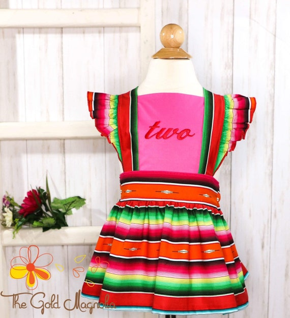 Girls Serape Pinafore - Taco Twosday Pinafore Skirt - Monogrammed Pinafore - Fiesta Pinafore - Cinco de Mayo