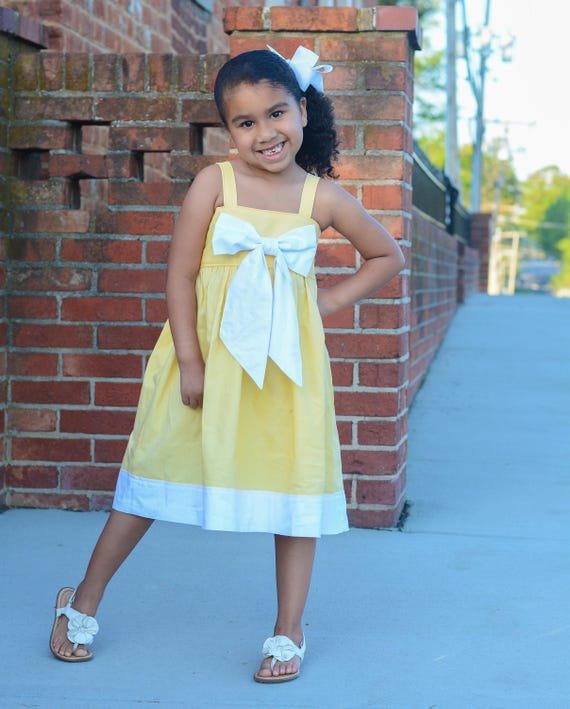 Girls Yellow and White Big Bow Dress - Pastel Yellow Dress with Bow - Girls Sister Dress Yellow and White