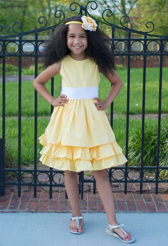 Girls Yellow and White Ruffled Tier Dress - Yellow Easter Dress - Girls Yellow Sister Dress with Big Bow and Ruffles