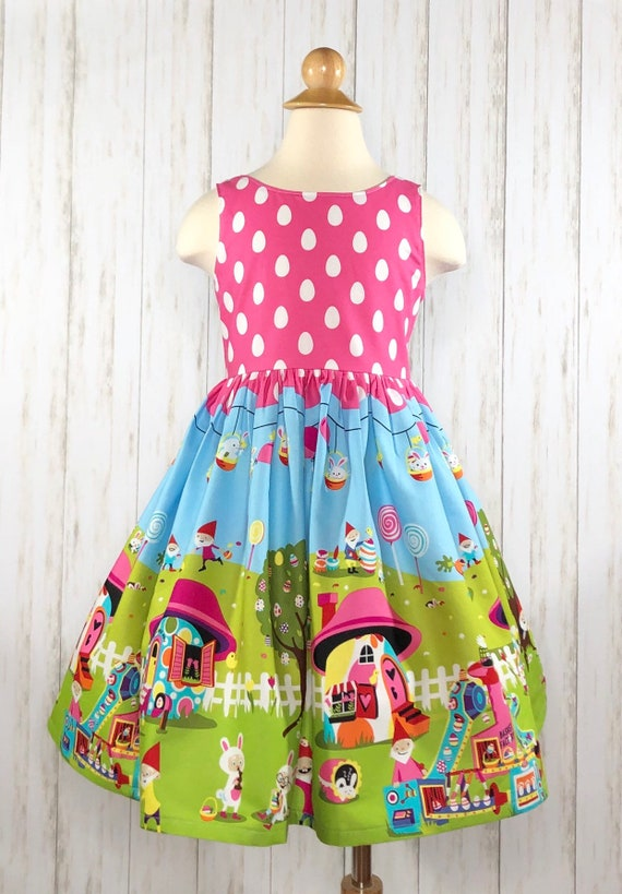 Girls Gnome Easter Dress - Easter Eggs - Gnomeville - Easter Dress
