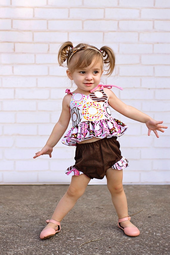 Girls Donut Ruffled Top and Bloomer - Donut Party Outfit