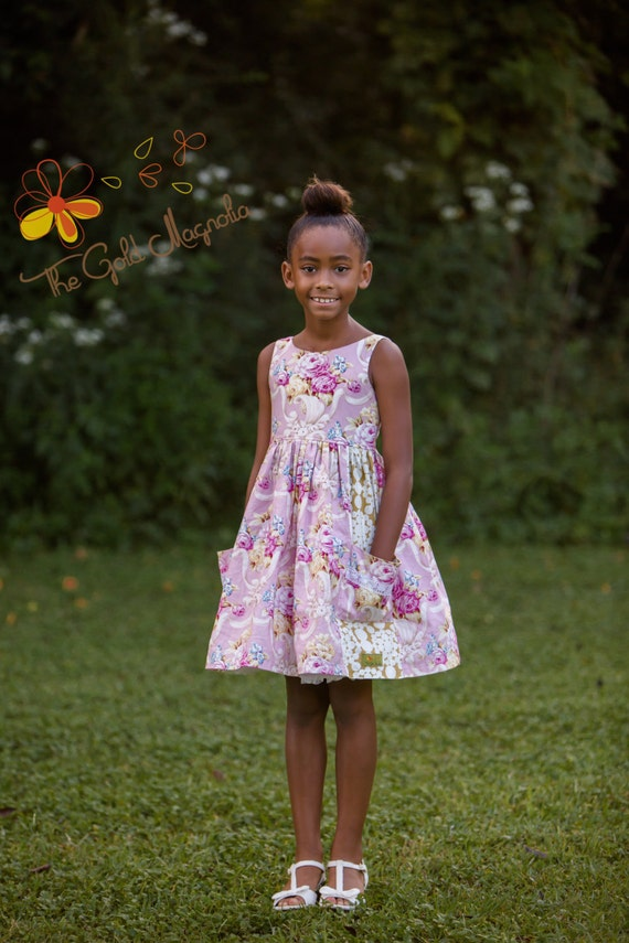 Girls Pink Easter Dress - Pink and Gold Floral Dress  - Full Skirt with Pockets  - Pink Party Dress