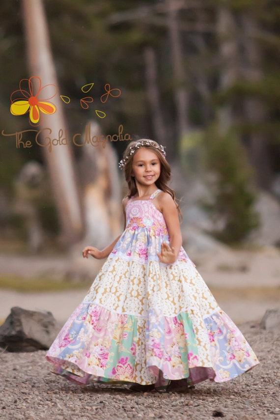Girls Maxi Dress - Girls Boho Maxi Dress - Pink Maxi Dress - Floral Maxi Dress -Twirl Maxi Dress - Flower Girl Dress
