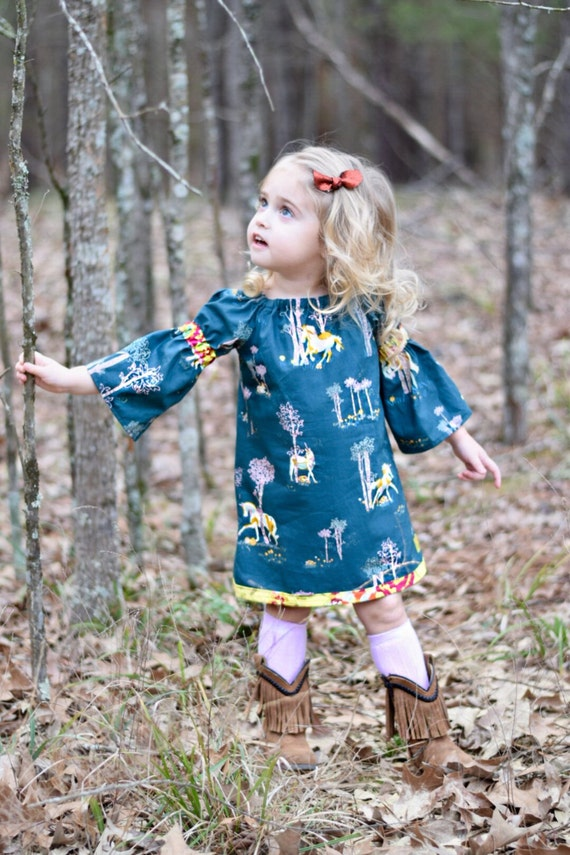 Girls Unicorn Peasant Dress - Unicorn Dress - Gold Dress - Back To School Dress