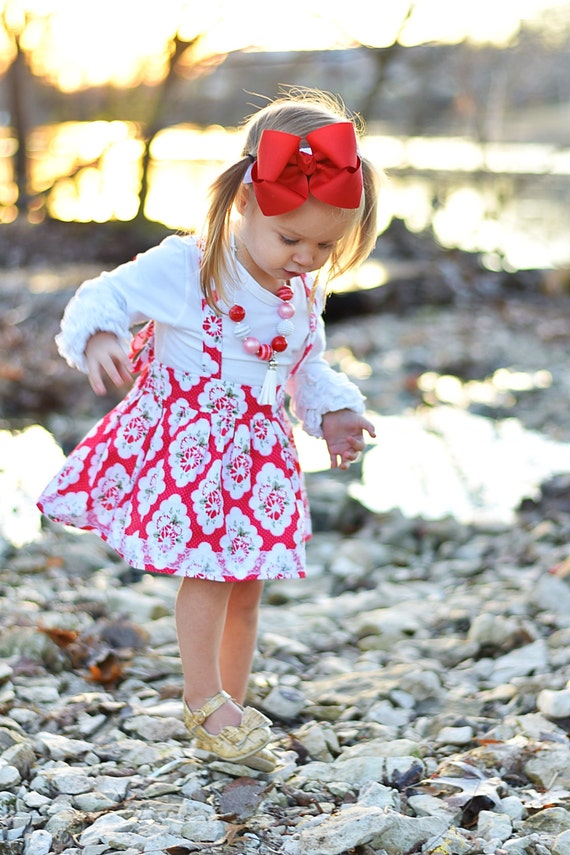 Girls Red Floral Suspender Skirt - Valentine Skirt - Lace Skirt - Suspender Skirt