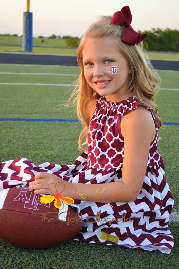 Texas Aggies Dress - Girls MSU Dress - Mississippi State Bulldogs Dress -Girls Maroon and White Dress -  Football dress
