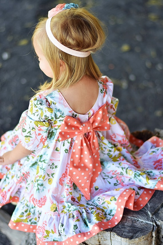The Garden – Pink Easter Dress – Floral Easter dress -  Peach Pink and Blue Floral Twirl Dress – Pink Floral Twirl Dress – Big Bow Dress
