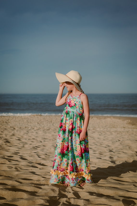 Girls Floral Maxi - Tropical Floral Maxi - Luau Maxi - Hawaiian Maxi