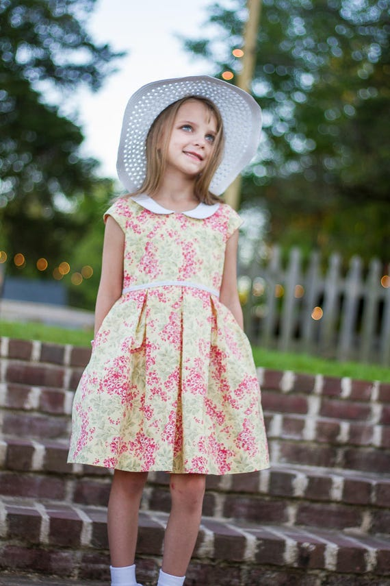 Girls Pink and Yellow Floral Dress - Girls Dress with Peter Pan Collar - Easter Dress - Sunday Dress