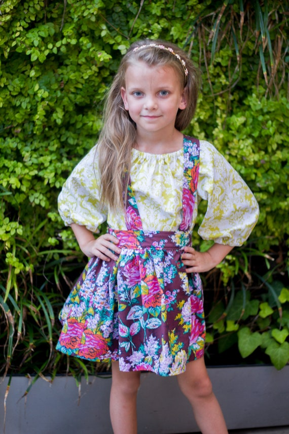 Girls Floral Suspender Skirt – Suspender Skirt – Fall Boutique Skirt – Gold Floral Outfit - Suspender Skirt Set