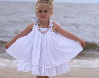 Girls White Dress - White Beach Dress - White Gauze Dress - Twirl Dress - Beach Flower Girl Dress