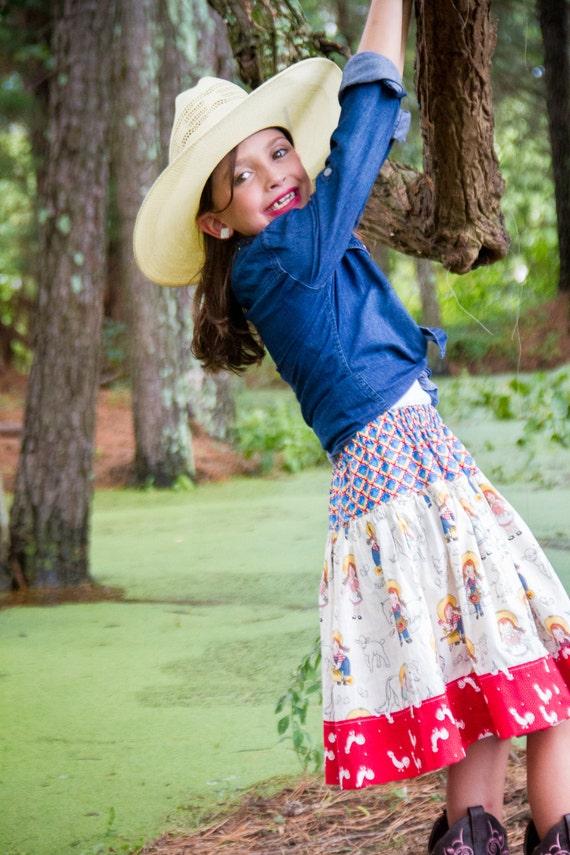Girls Fall Skirt - Girls Twirly Skirt - Girls Farm Animal Skirt - Girls Western Twirl Skirt - Farm Girl Skirt - Farm Skirt-