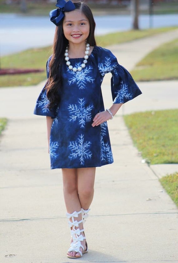 Girls Christmas Snowflake Dress - Blue Christmas Dress - Snowflake Dress -