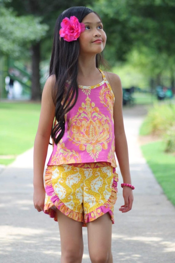 Girls Pink and Yellow Damask Short Set - Shorts and Halter Set - Girls Ruffled Shorts - Girls Crop top and Shorts