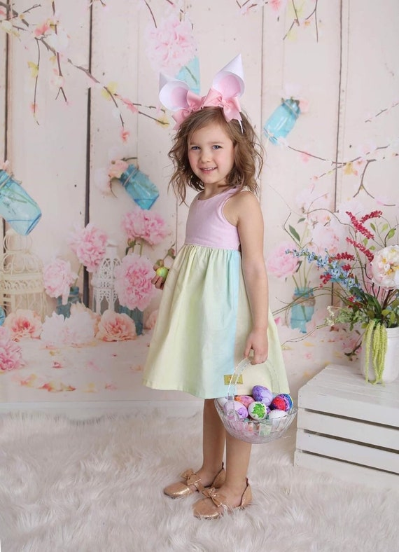 Girls Rainbow Dress - Pastel Color Rainbow Dress - Rainbow