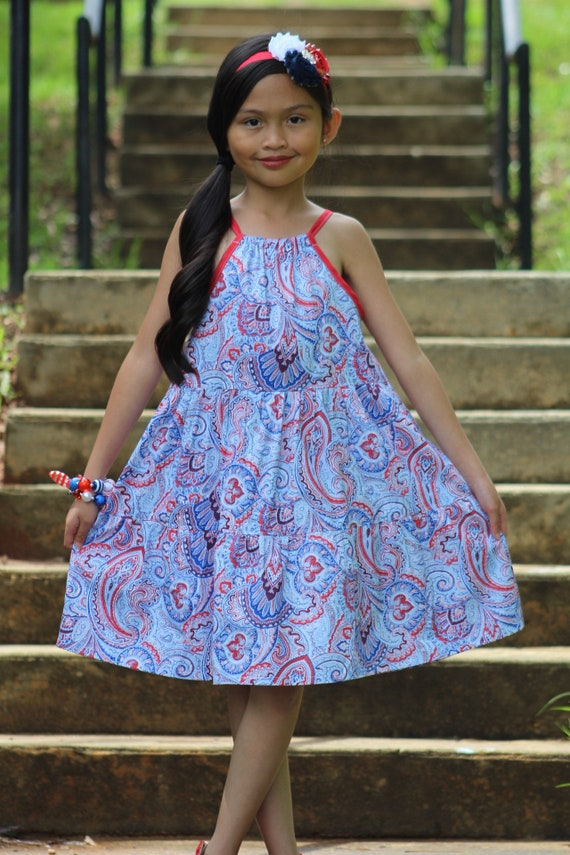 Girls Red White and Blue Dress - Fouth of July  Dress - 4 th of July Dress - Patriotic Dress - Fourth of July Kids