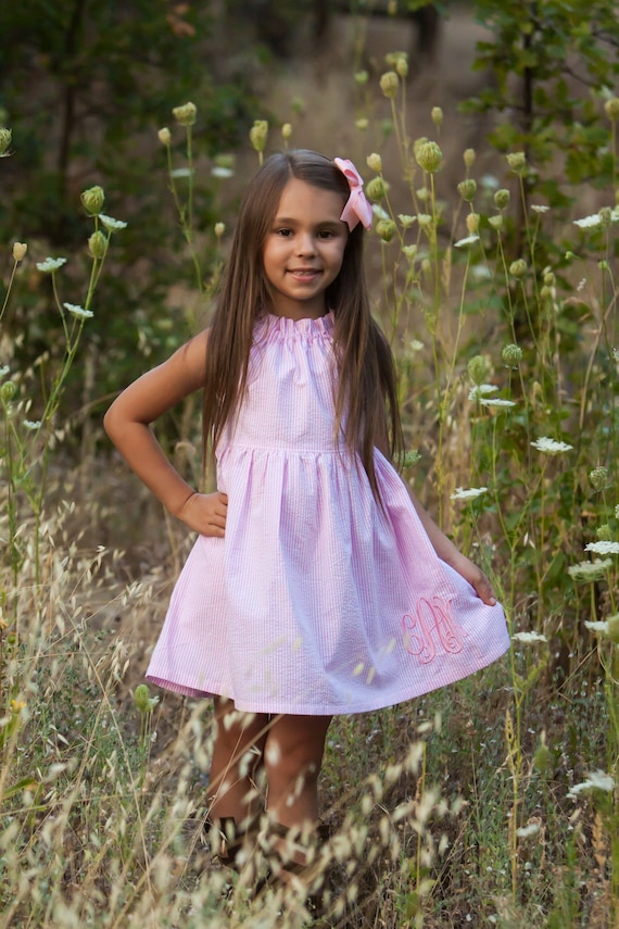 Girls Pink Seersucker Dress - Monogrammed Seersucker Dress - Pink Monogrammed Dress