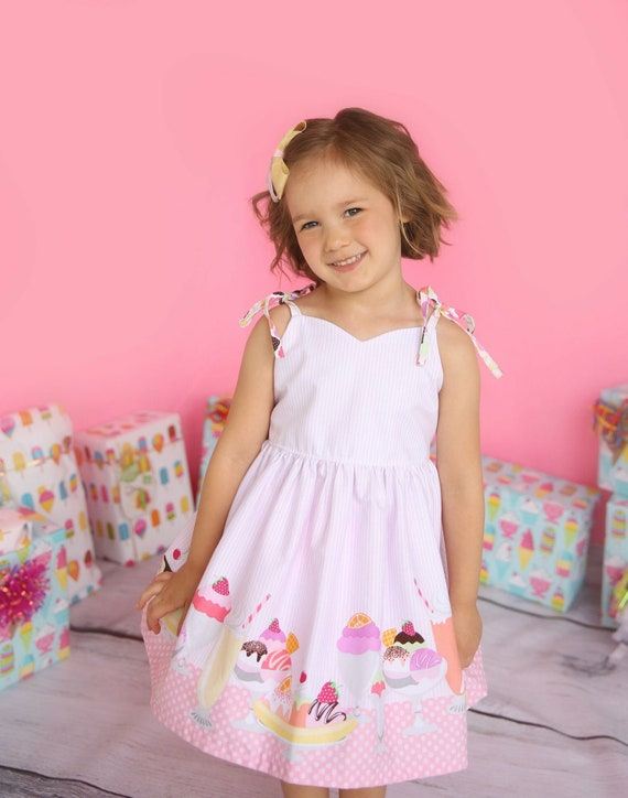 Girls Ice Cream Dress - Girls Birthday Dress - Girls Ice Cream Museum Dress - Girls Party Dress