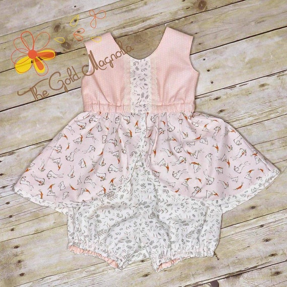 Girls Bunny  Top and Bloomer Set - Easter Outfit - Infant Bunny Top