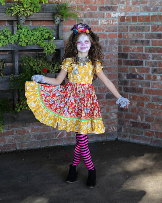 Girls Sugar Skull Dress - Girls Skull Twirl Dress - Fiesta Dress - Day of the Dead Dress - Conco de Mayo