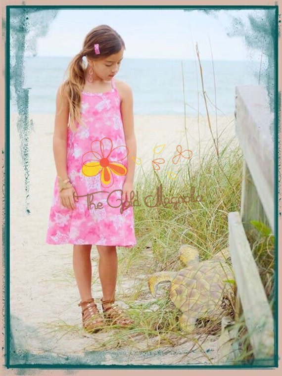 Girls Racerback Dress Pink with Turtles Beach Dress - Girls Beach Portrait Dress - Beach Dress - Pink Beach Dress - Pink Sundress