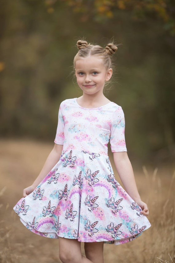 Girls Unicorn Twirl Dress - Unicorn Skater Skirt - Unicorn Dress - Pink Rainbow Dress