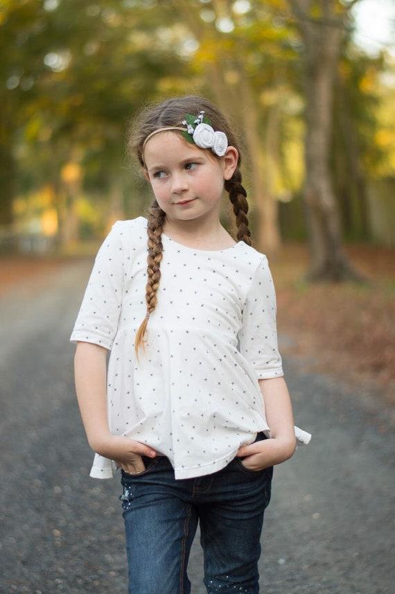 Girls Knit White and Black Peplum - Urbsn Style Peplum