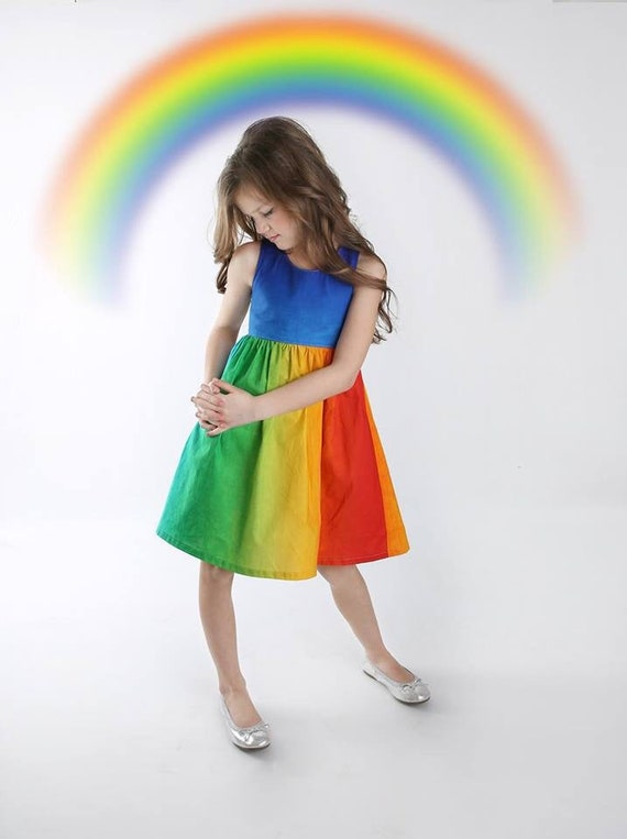 Girls Rainbow Dress - Primary Color Rainbow Dress - Rainbow