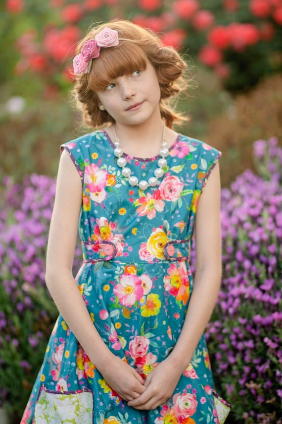 Girls Blue Floral Wrap Dress with Pockets  - Girls Vintage Wrap Dress  - Mommy and Me