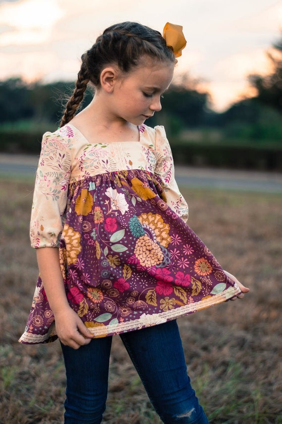 Girls Fall Floral Tunic - Purple Floral Top - Lace and Floral Top
