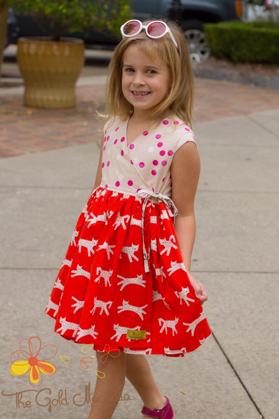Girls Polka Dot Cat Dress - Cat Dress - Kitten Dress - Kitty Dress - Girls  Red Dress