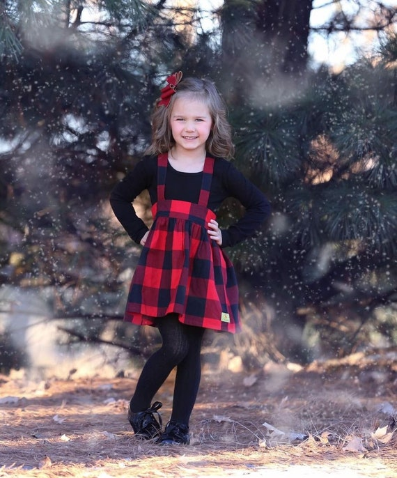 Girls Buffalo Plaid Suspender Skirt - Red and Black Suspender Skirt - Black and Red checked Suspender Skirt - Girls Suspender Skirt