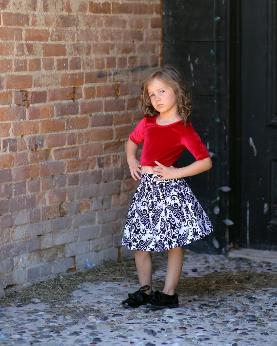 Girls holiday Skirt Set - Red Velvet Top - Black and White - red Velvet Dress