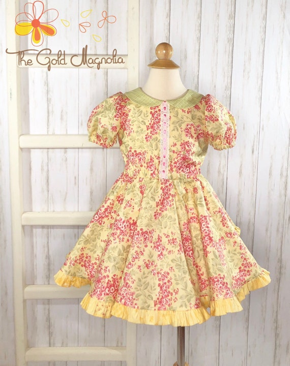 Girls Spring Twirl Dress - Yellow and Pink Floral Easter Dress