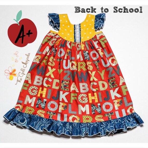 Girls ABC Dress – Alphabet Dress - Flutter Sleeve Dress – Back To School Dress – Girls Red ABC Dress –