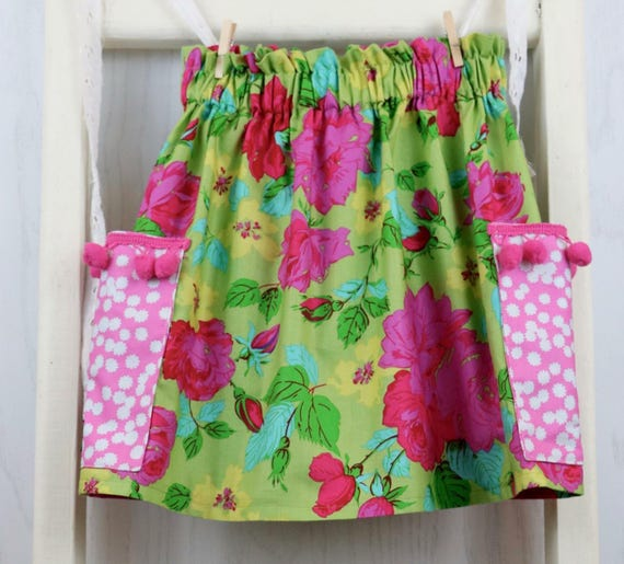 Girls Spring Green Floral Skirt with Pockets - Pink Polka Dot Skirt - Girls Floral Skirt - Back To School Skirt