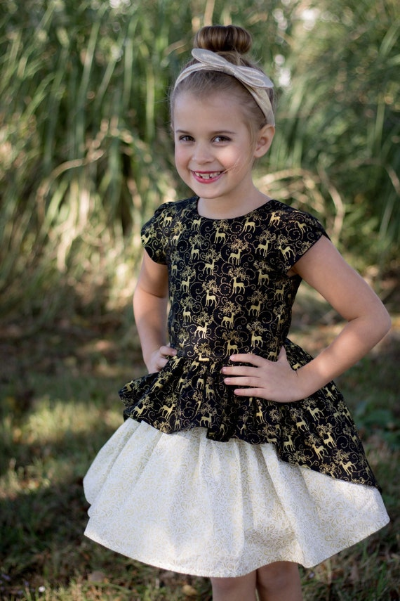 Girls Gold and Black Reinder Holiday Dress - Gold and White Christmas Dress - girls Christmas Dress