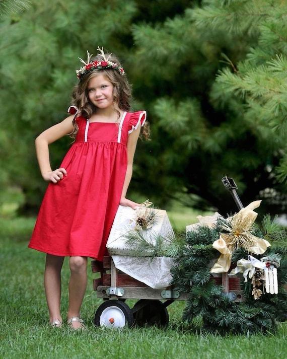 Girls Red Linen Christmas Dress - Girls  Linen Dress