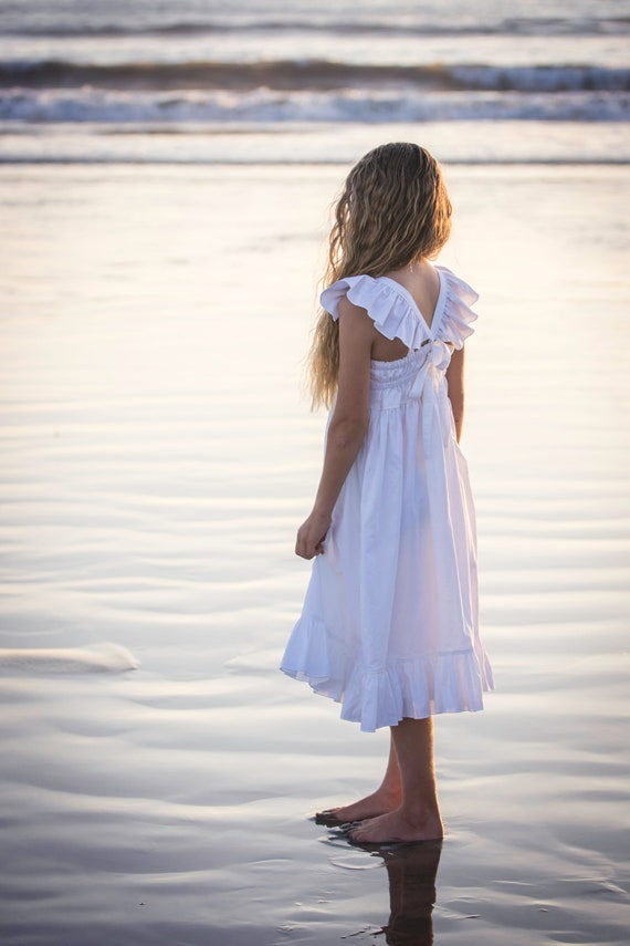 Girls White Beach Dress with Flutters and Ruffles - Beach Dress - Girls White Dress
