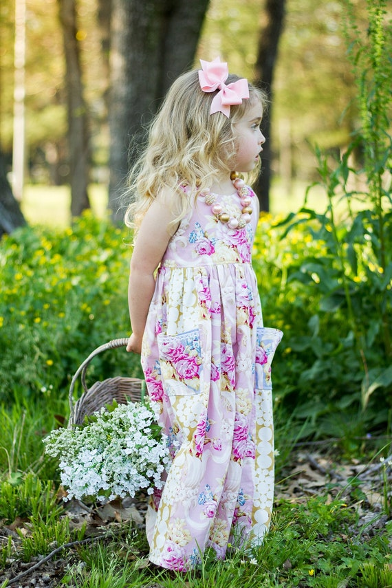 Girls Pink Floral Maxi Dress - Pink and Gold Maxi Dress - Girls Maxi with Pockets - Flower Girl Dress - Easter Dress - Floral Easter Dress