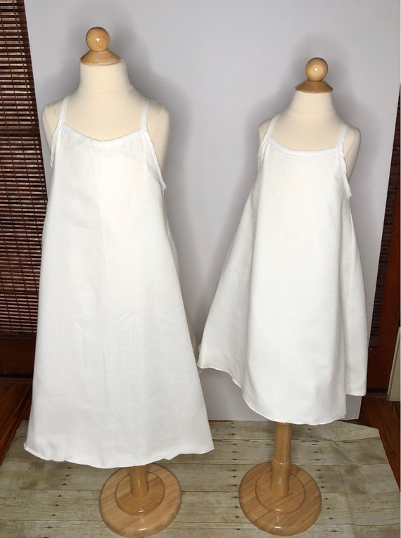 Girls White Beach Dress - White Flower Girl Dress - Summer Dress - Racer Back Dress