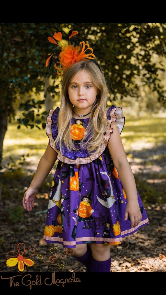 Girls Little Witch Halloween Dress - Purple and Orange Halloween Dress - Pumpkin Halloween Dress