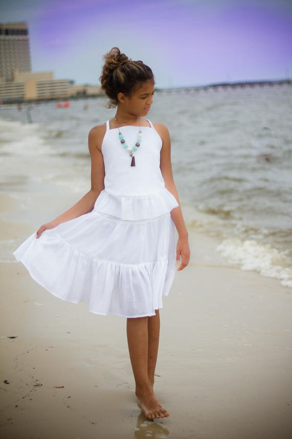 Girls White Dress - White Beach Dress - White Gauze Dress - White Twirl Skirt - White Skirt Set - Beach Flower Girl Dress