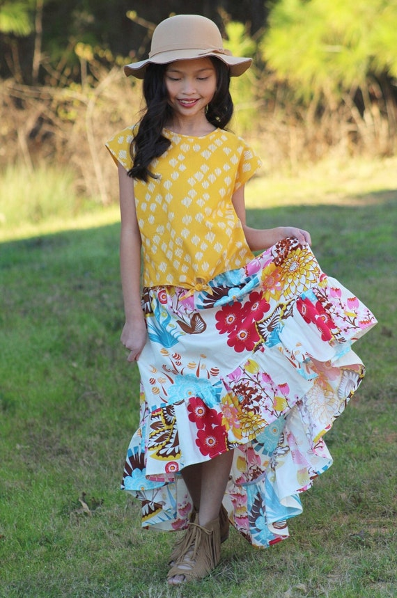 Girls Boho Floral Maxi Skirt and Mustard Yellow Top Set - Boho Maxi Dress