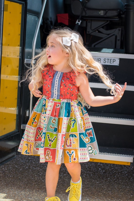 ABC Dress - Alphabet Dress - Back to School Dress - School Dress - School Bus Dress