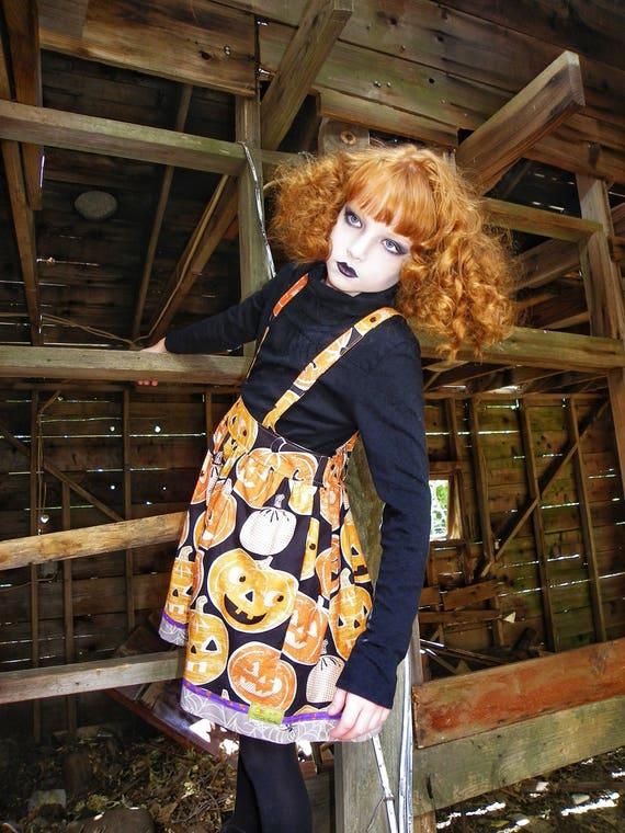 Girls Halloween Suspender Skirt  - Halloween Pumpkin Skirt - Boo - Halloween Skirt - Orange and Black Skirt