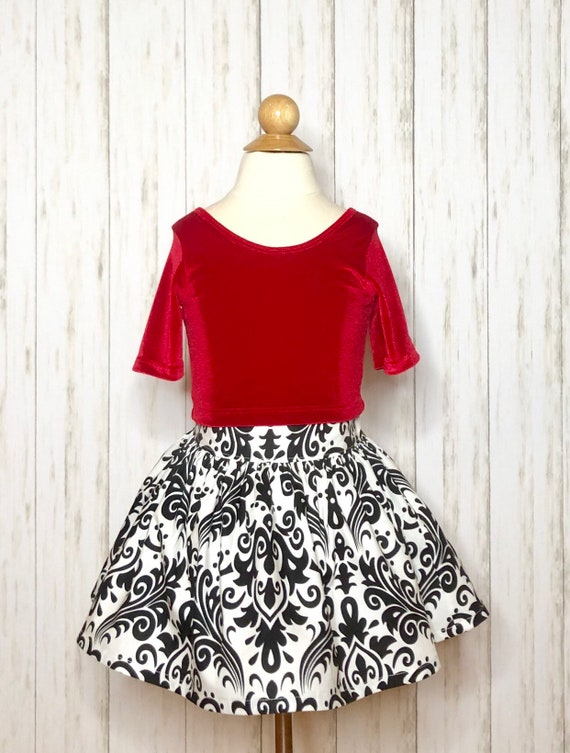 Girls Valentines Skirt Set - Red Velvet Top - Black and White - trd Velvet Dress
