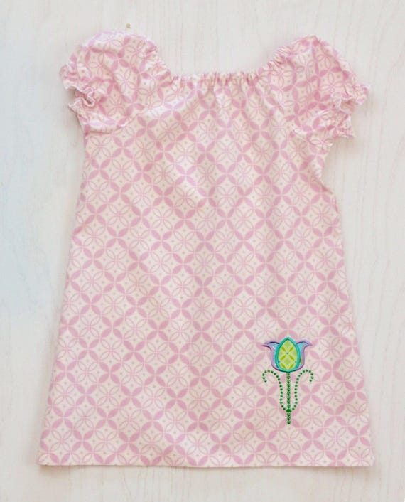 Girls Pink Peasant Dress with Tulip Applique - Tulip Dress - Girls Pink Dress - Spring Dress - Easter Dress - Pink Easter Dress