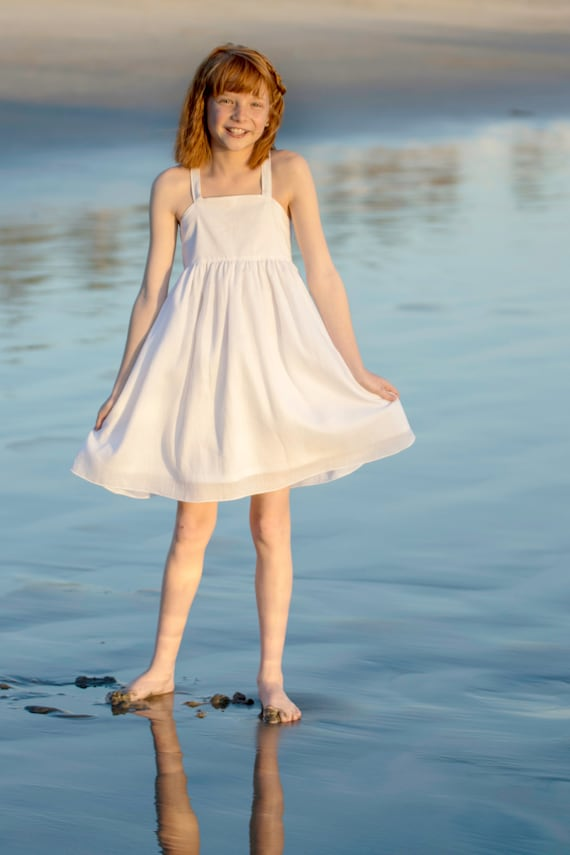 Girls White Beach Dress with Gauze Overlay