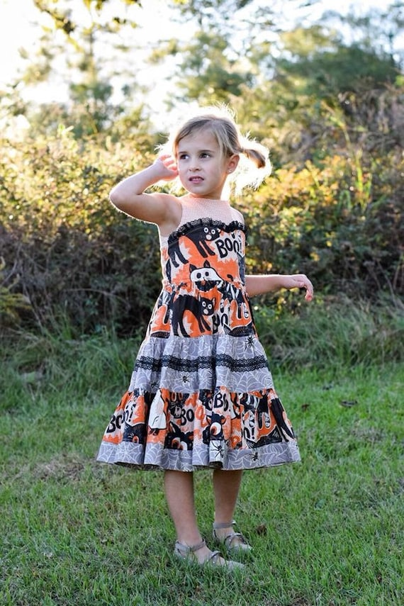 Girls Boo Cat Halloween Dress - Orange and Black Halloween Dress - Black Cat Dress